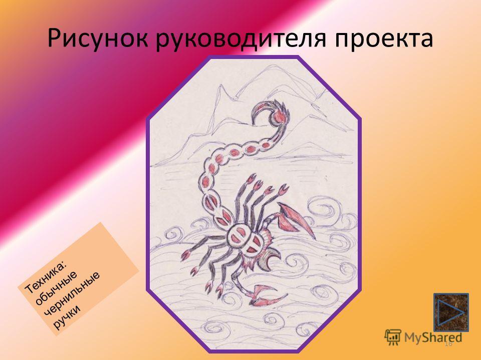 Рисунок руководителя проекта 16 Техника: обычные чернильные ручки