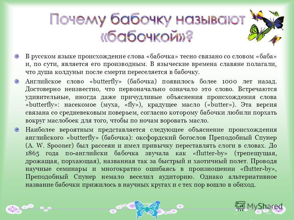 В русском языке происхождение слова «бабочка» тесно связано со словом «баба» и, по сути, является его производным. В языческие времена славяне полагали, что душа колдуньи после смерти переселяется в бабочку. Английское слово «butterfly» (бабочка) поя