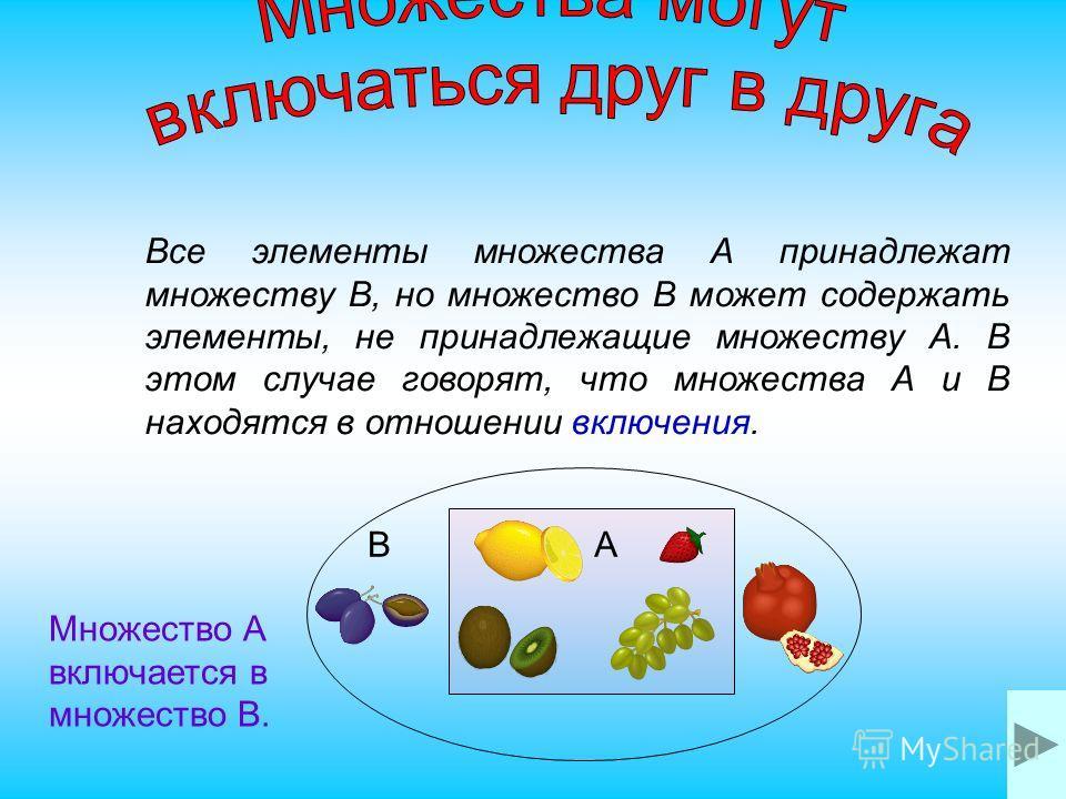 Множества называются пересекающимися, если оба множества содержат одинаковые элементы, но при этом имеют и различные.