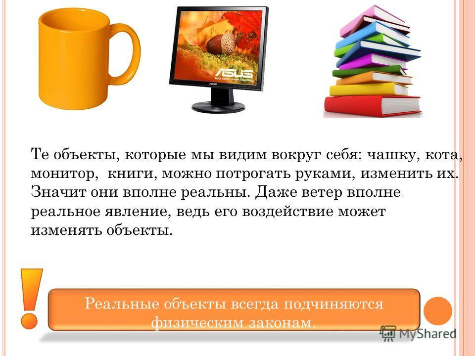 Те объекты, которые мы видим вокруг себя: чашку, кота, монитор, книги, можно потрогать руками, изменить их. Значит они вполне реальны. Даже ветер вполне реальное явление, ведь его воздействие может изменять объекты. Реальные объекты всегда подчиняютс