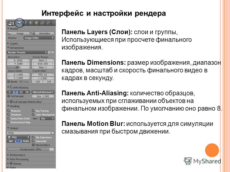 Интерфейс и настройки рендера Панель Layers (Слои): слои и группы, Использующиеся при просчете финального изображения. Панель Dimensions: размер изображения, диапазон кадров, масштаб и скорость финального видео в кадрах в секунду. Панель Anti-Aliasin