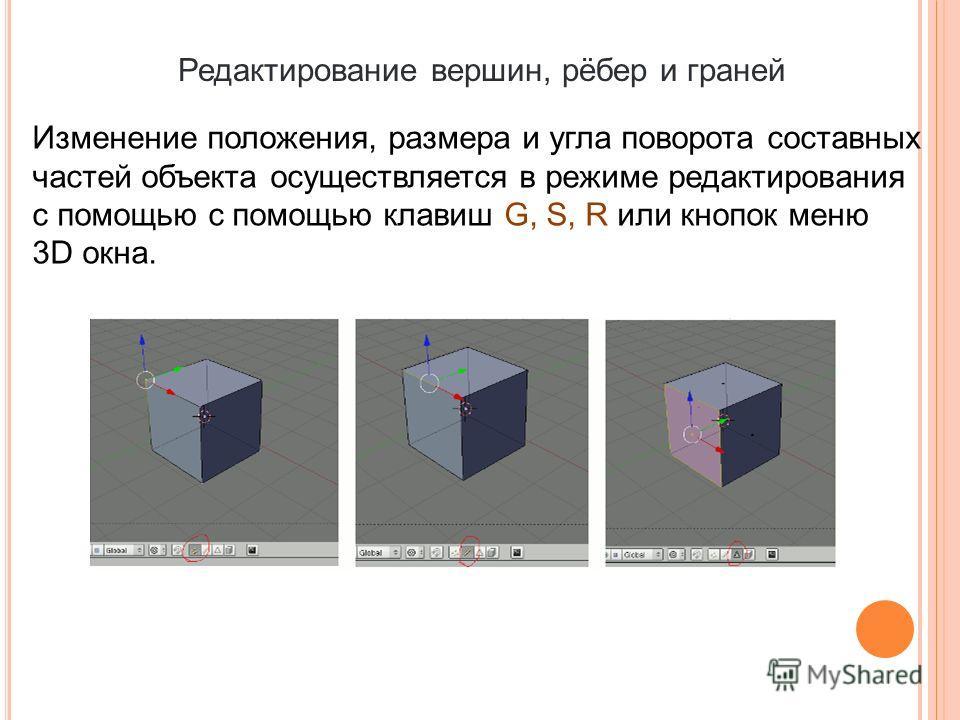 Редактирование вершин, рёбер и граней Изменение положения, размера и угла поворота составных частей объекта осуществляется в режиме редактирования с помощью с помощью клавиш G, S, R или кнопок меню 3D окна.