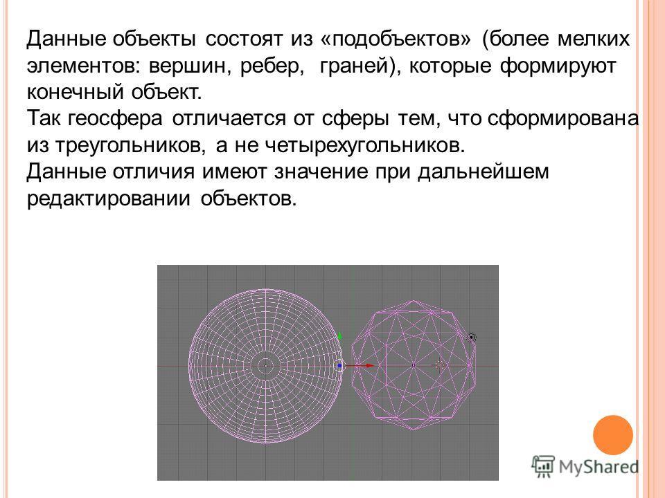 Данные объекты состоят из «подобъектов» (более мелких элементов: вершин, ребер, граней), которые формируют конечный объект. Так геосфера отличается от сферы тем, что сформирована из треугольников, а не четырехугольников. Данные отличия имеют значение