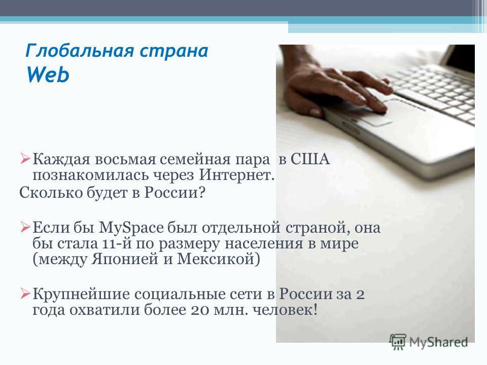 Глобальная страна Web Каждая восьмая семейная пара в США познакомилась через Интернет. Сколько будет в России? Если бы MySpace был отдельной страной, она бы стала 11-й по размеру населения в мире (между Японией и Мексикой) Крупнейшие социальные сети