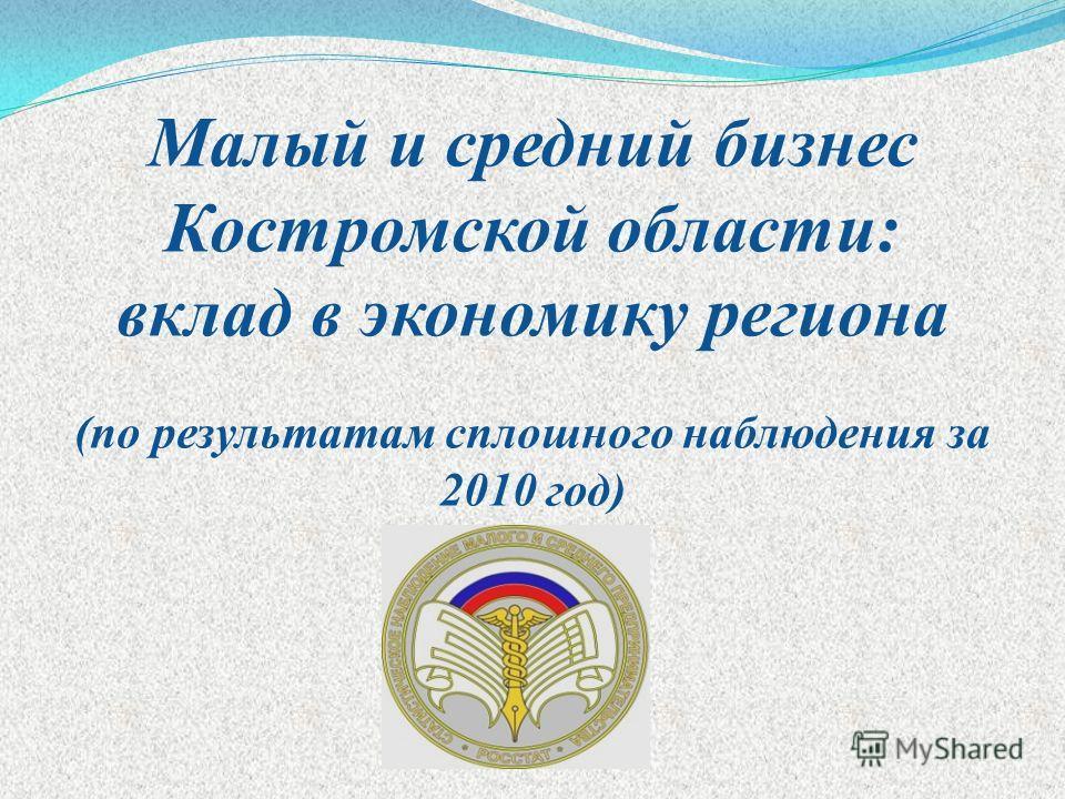 Малый и средний бизнес Костромской области: вклад в экономику региона (по результатам сплошного наблюдения за 2010 год)
