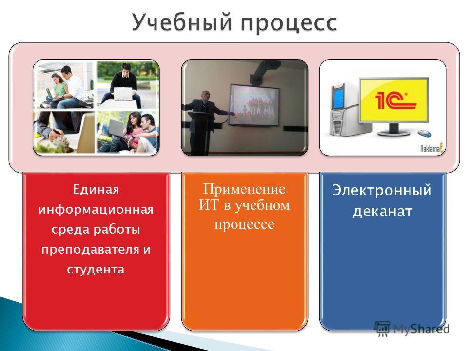 Единая информационная среда работы преподавателя и студента Применение ИТ в учебном процессе Электронный деканат