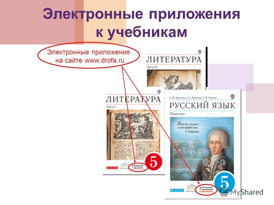Электронные приложения к учебникам Электронные приложения на сайте www.drofa.ru