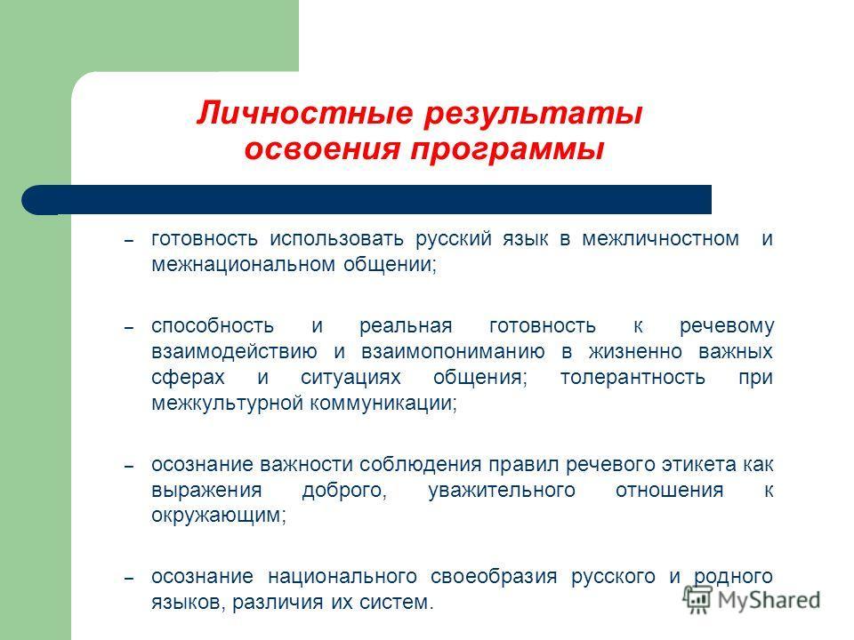Личностные результаты освоения программы – готовность использовать русский язык в межличностном и межнациональном общении; – способность и реальная готовность к речевому взаимодействию и взаимопониманию в жизненно важных сферах и ситуациях общения; т