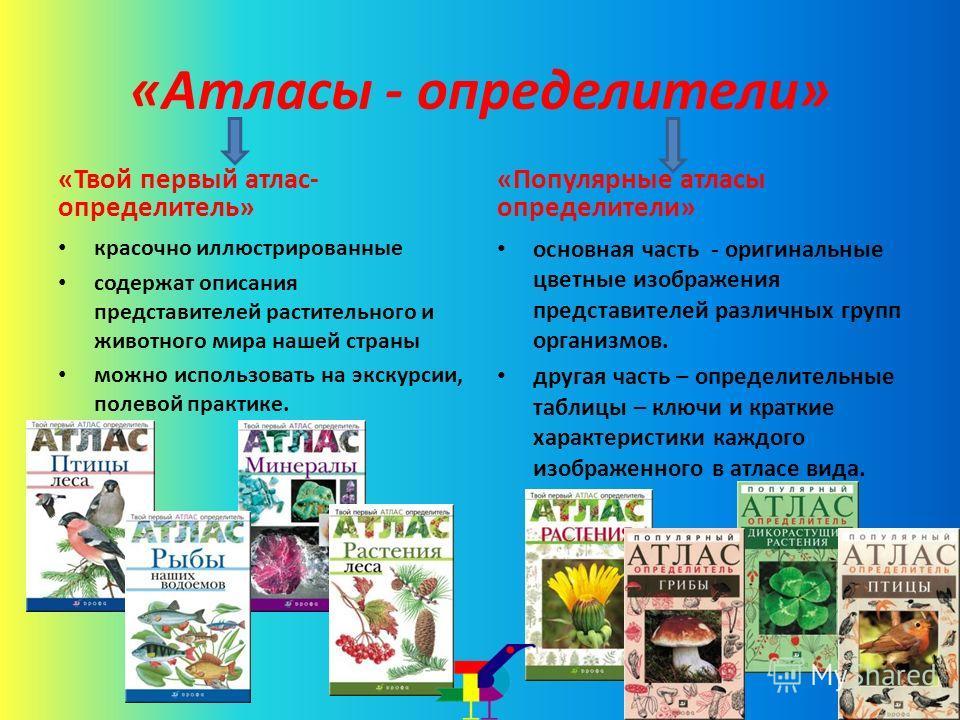 «Атласы - определители» «Твой первый атлас- определитель» красочно иллюстрированные содержат описания представителей растительного и животного мира нашей страны можно использовать на экскурсии, полевой практике. «Популярные атласы определители» основ
