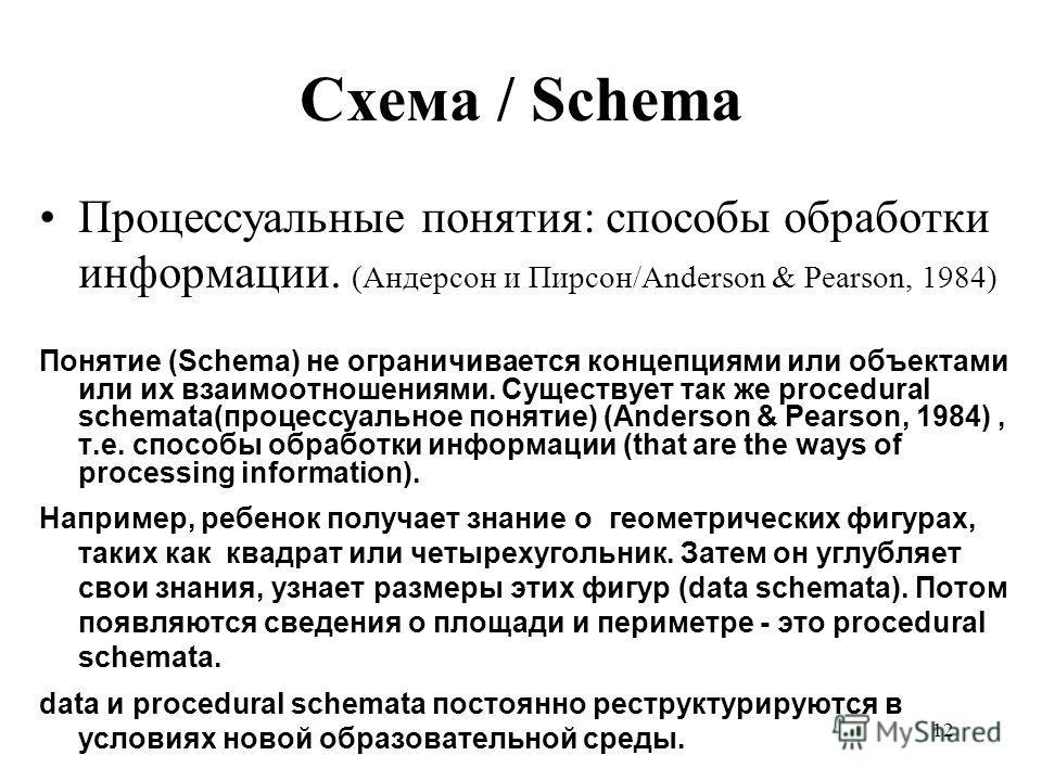 11 Теория когнитивного развития Пиаже Процесс интеллектуального и когнитивного развития – это ментальная адаптация к требованиям среды. Пиаже (1952) Схема / Schema: ментальная структура, которая адаптируется к моделям среды. Схематизация / Schemata: