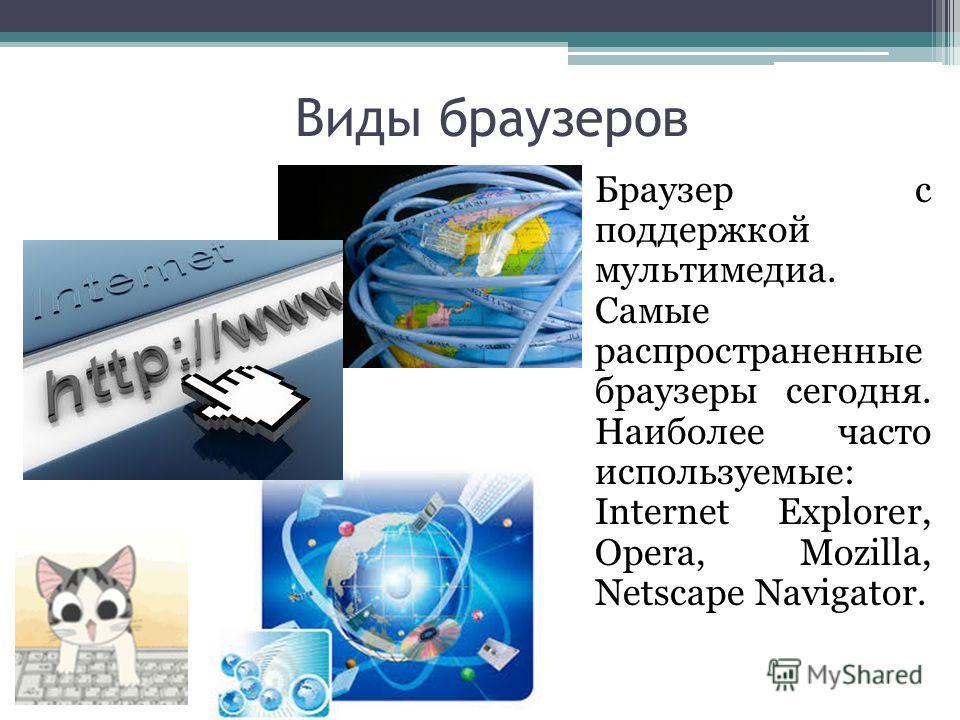 Виды браузеров Браузер с поддержкой мультимедиа. Самые распространенные браузеры сегодня. Наиболее часто используемые: Internet Explorer, Opera, Mozilla, Netscape Navigator.