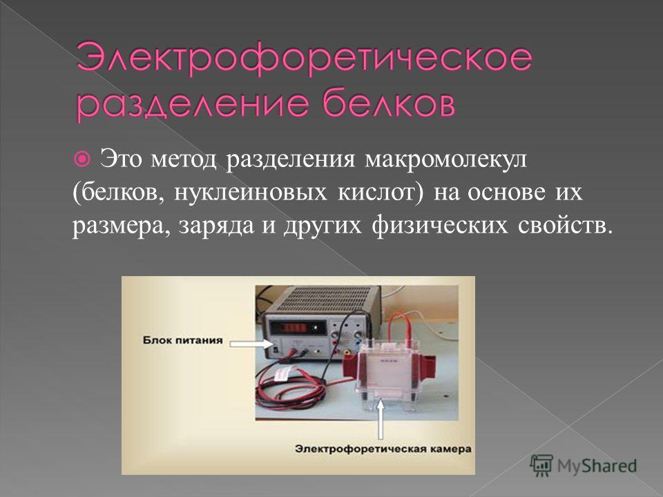 Это метод разделения макромолекул (белков, нуклеиновых кислот) на основе их размера, заряда и других физических свойств.