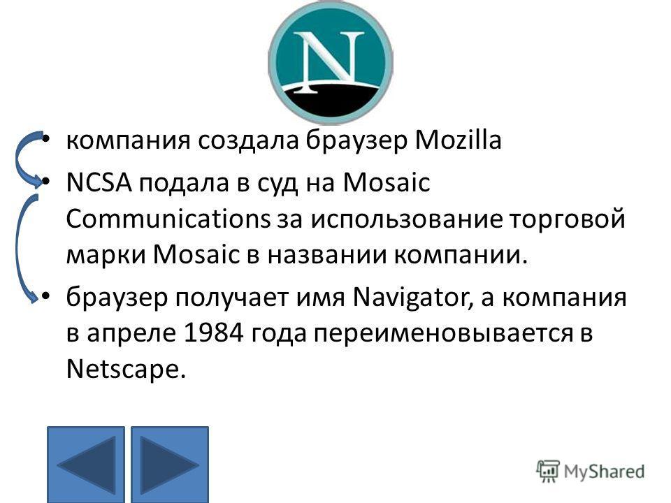 … компания создала браузер Mozilla NCSA подала в суд на Mosaic Communications за использование торговой марки Mosaic в названии компании. браузер получает имя Navigator, а компания в апреле 1984 года переименовывается в Netscape.