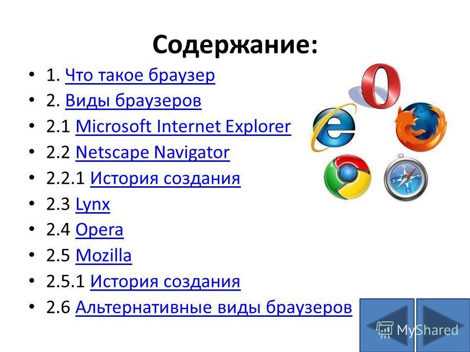 Содержание: 1. Что такое браузерЧто такое браузер 2. Виды браузеровВиды браузеров 2.1 Microsoft Internet ExplorerMicrosoft Internet Explorer 2.2 Netscape NavigatorNetscape Navigator 2.2.1 История созданияИстория создания 2.3 LynxLynx 2.4 OperaOpera 2