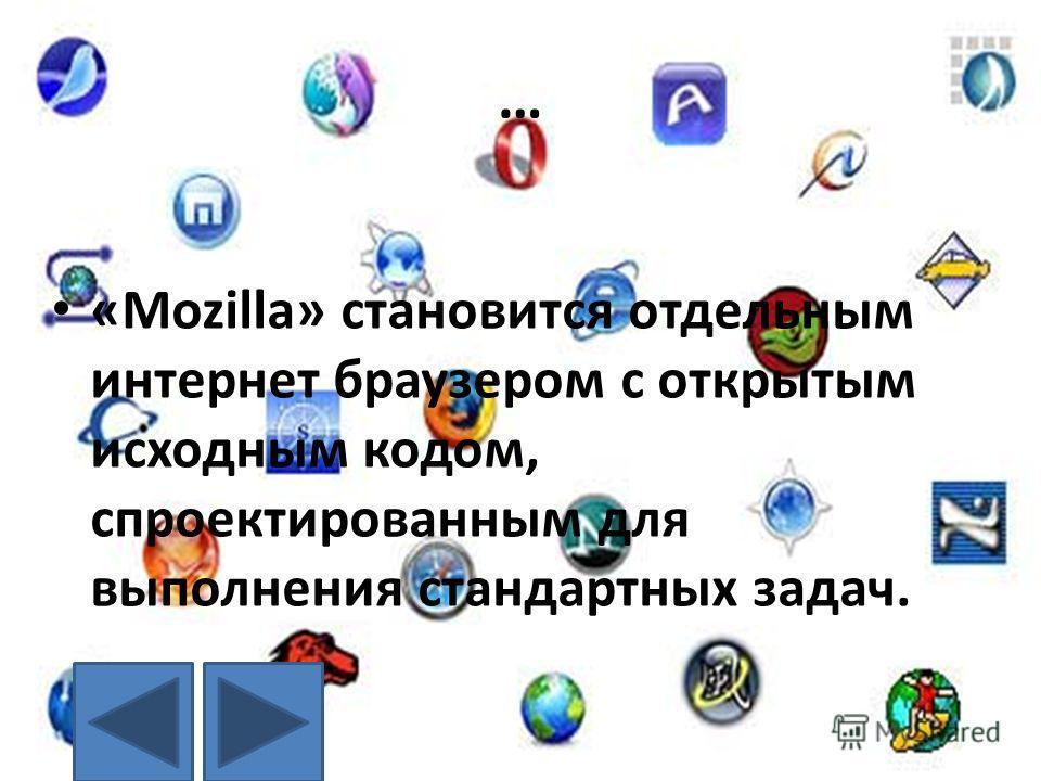 … «Mozilla» становится отдельным интернет браузером с открытым исходным кодом, спроектированным для выполнения стандартных задач.