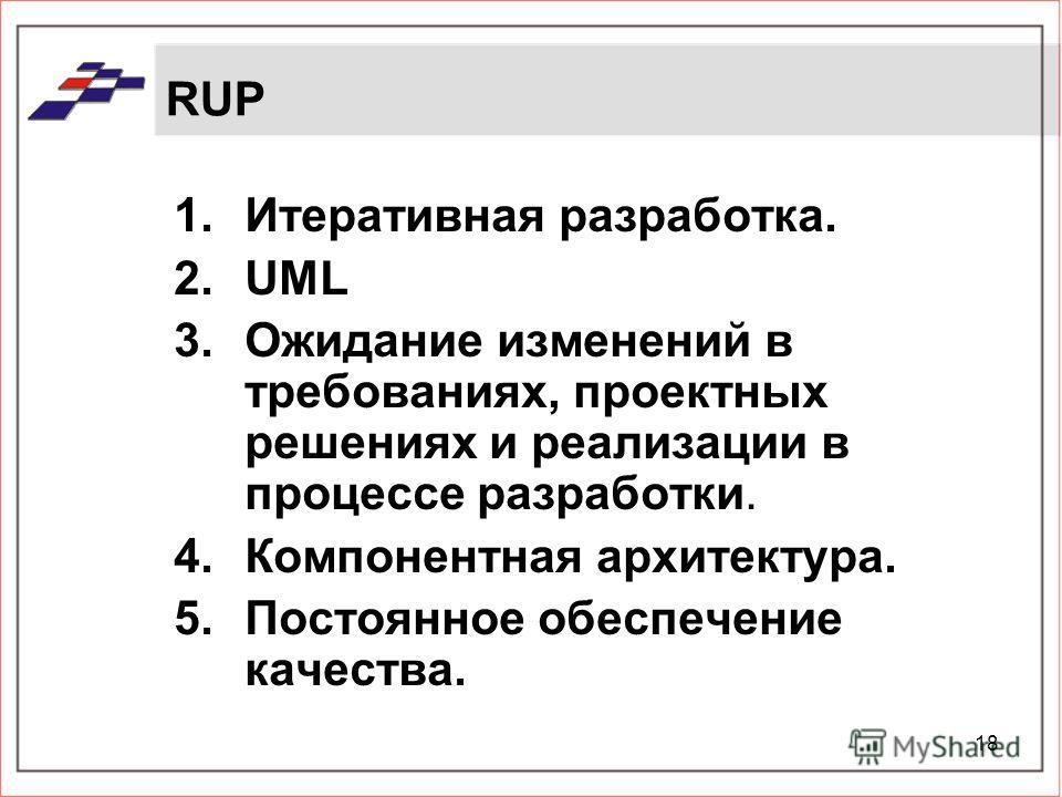 18 RUP 1.Итеративная разработка. 2.UML 3.Ожидание изменений в требованиях, проектных решениях и реализации в процессе разработки. 4.Компонентная архитектура. 5.Постоянное обеспечение качества.