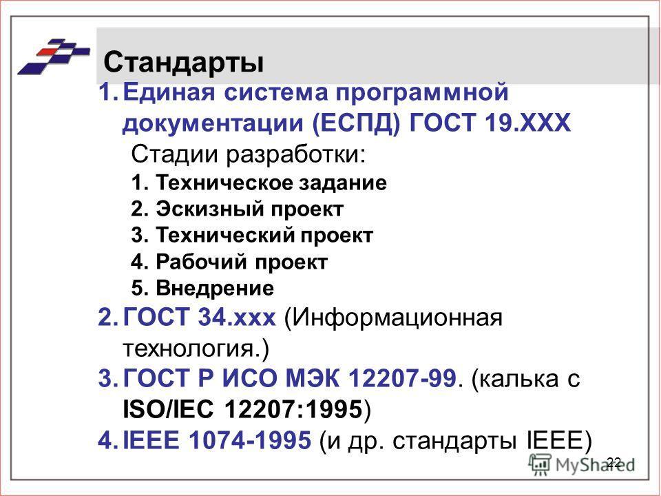 22 Стандарты 1.Единая система программной документации (ЕСПД) ГОСТ 19.XXX Стадии разработки: 1.Техническое задание 2.Эскизный проект 3.Технический проект 4.Рабочий проект 5.Внедрение 2.ГОСТ 34.ххх (Информационная технология.) 3.ГОСТ Р ИСО МЭК 12207-9