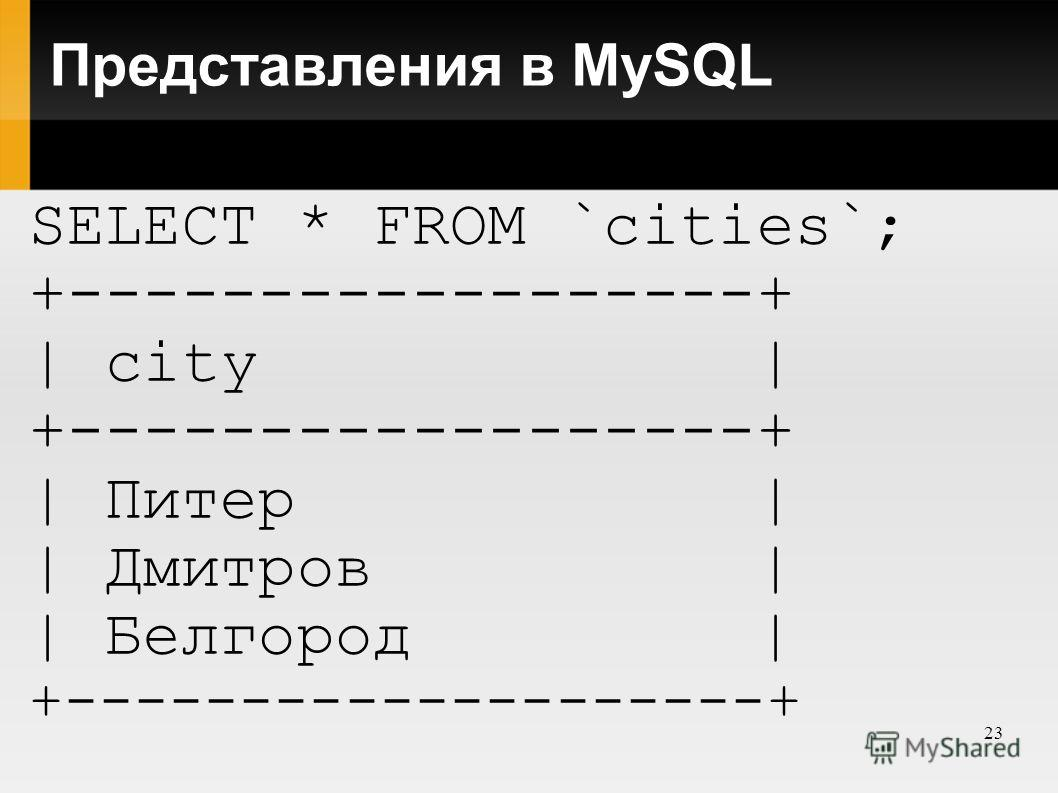 23 Представления в MySQL SELECT * FROM `cities`; +------------------+ | city | +------------------+ | Питер | | Дмитров | | Белгород | +--------------------+