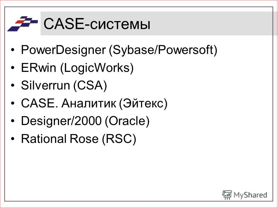 CASE-системы PowerDesigner (Sybase/Powersoft) ERwin (LogicWorks) Silverrun (CSA) CASE. Аналитик (Эйтекс) Designer/2000 (Oracle) Rational Rose (RSC)