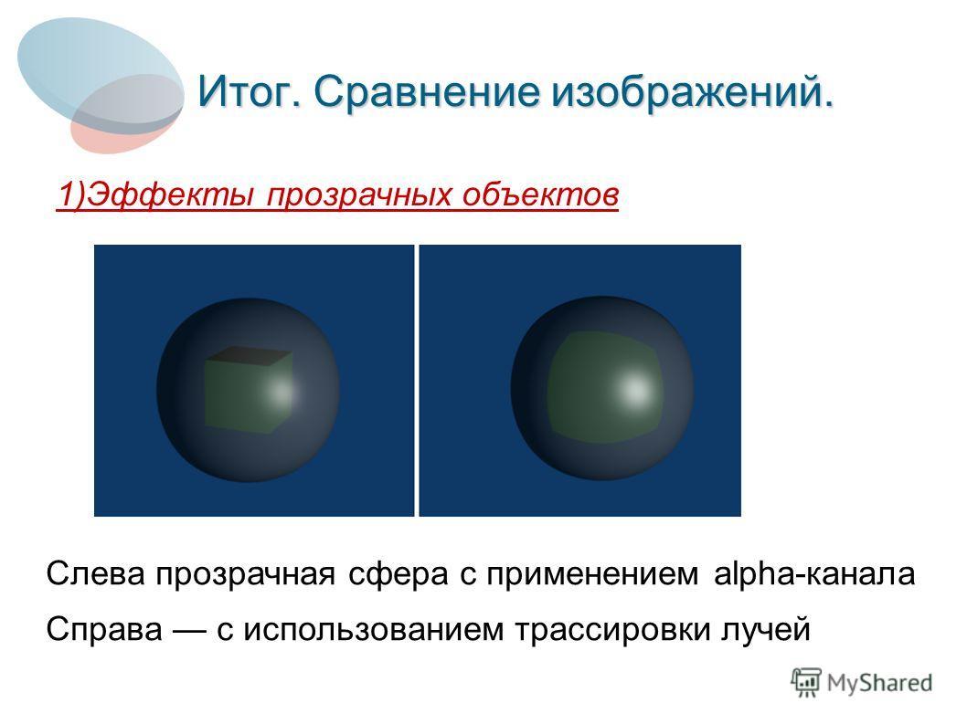 Итог. Сравнение изображений. 1)Эффекты прозрачных объектов Слева прозрачная сфера с применением alpha-канала Справа с использованием трассировки лучей