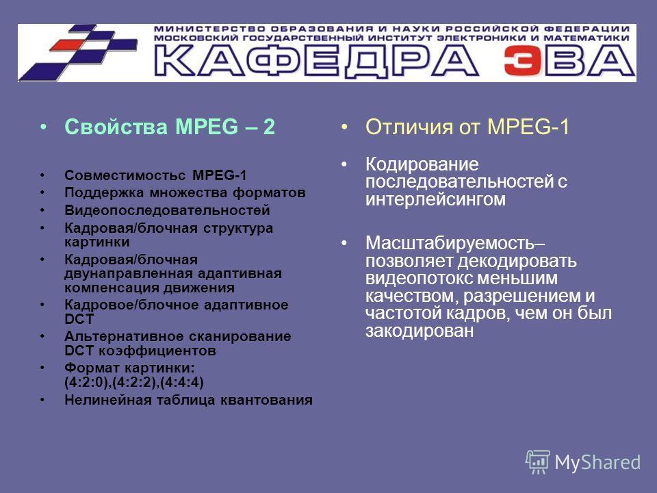 Свойства MPEG – 2 Совместимостьс MPEG-1 Поддержка множества форматов Видеопоследовательностей Кадровая/блочная структура картинки Кадровая/блочная двунаправленная адаптивная компенсация движения Кадровое/блочное адаптивное DCT Альтернативное сканиров