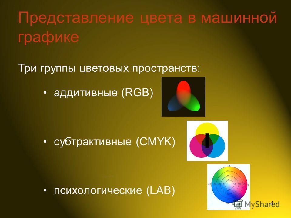 4 Представление цвета в машинной графике аддитивные (RGB) субтрактивные (CMYK) психологические (LAB) Три группы цветовых пространств: