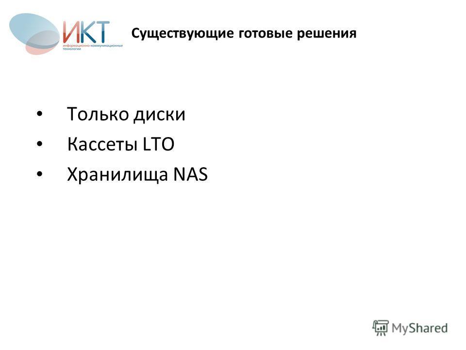 Существующие готовые решения Только диски Кассеты LTO Хранилища NAS