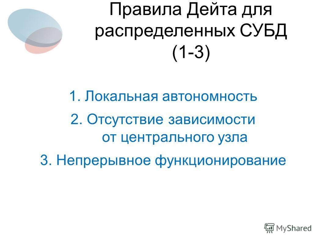 1. Локальная автономность 2. Отсутствие зависимости от центрального узла 3. Непрерывное функционирование Правила Дейта для распределенных СУБД (1-3)