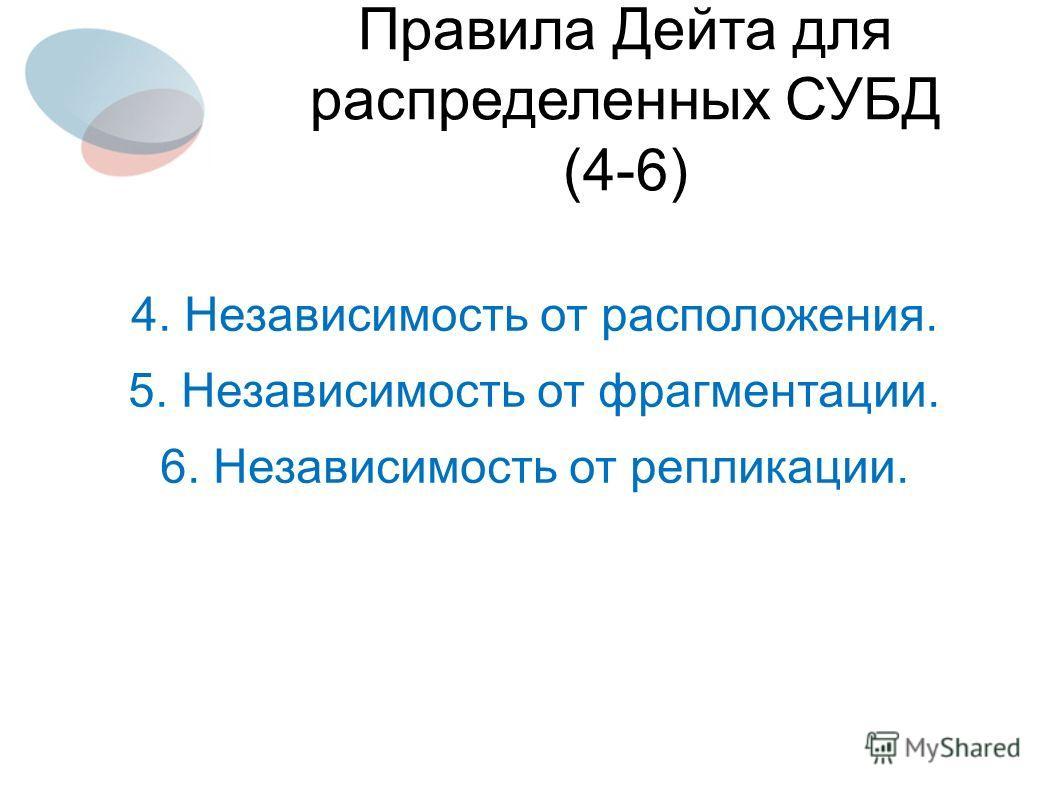 4. Независимость от расположения. 5. Независимость от фрагментации. 6. Независимость от репликации. Правила Дейта для распределенных СУБД (4-6)