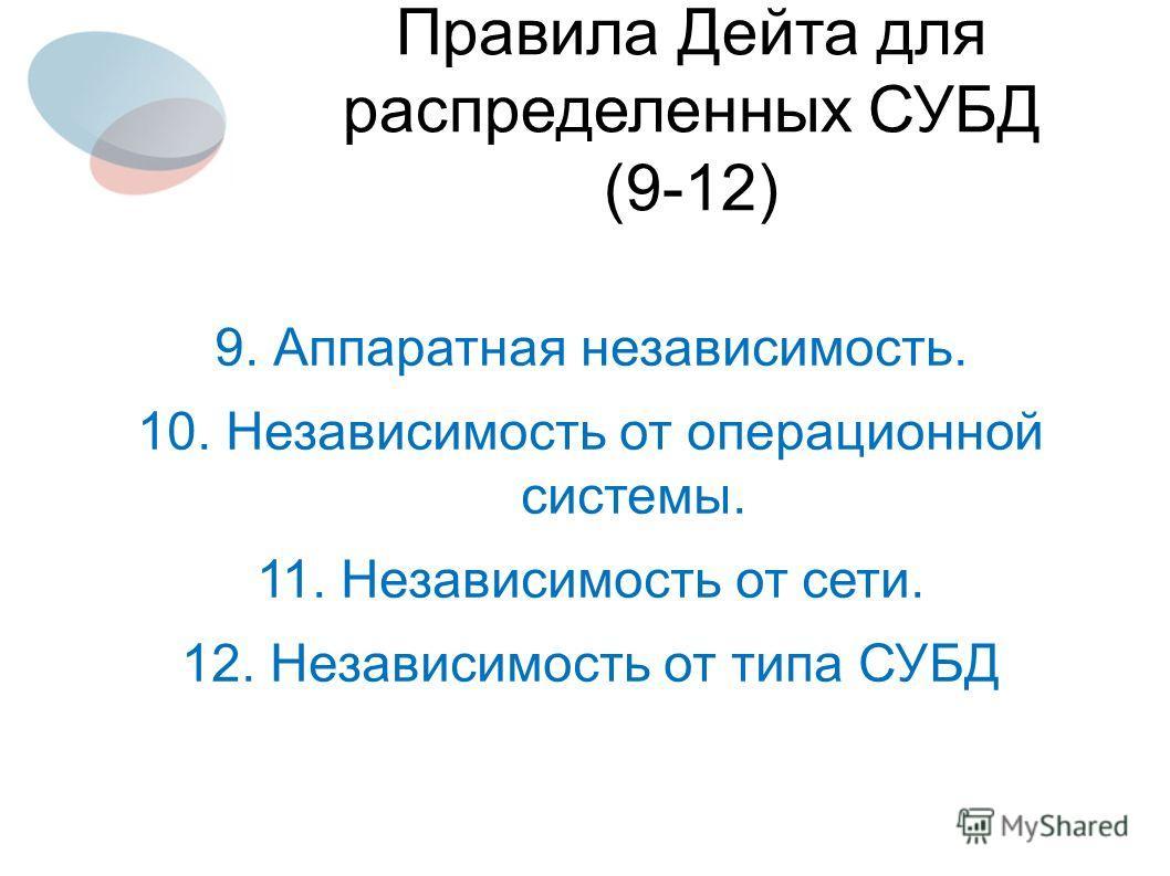 9. Аппаратная независимость. 10. Независимость от операционной системы. 11. Независимость от сети. 12. Независимость от типа СУБД Правила Дейта для распределенных СУБД (9-12)