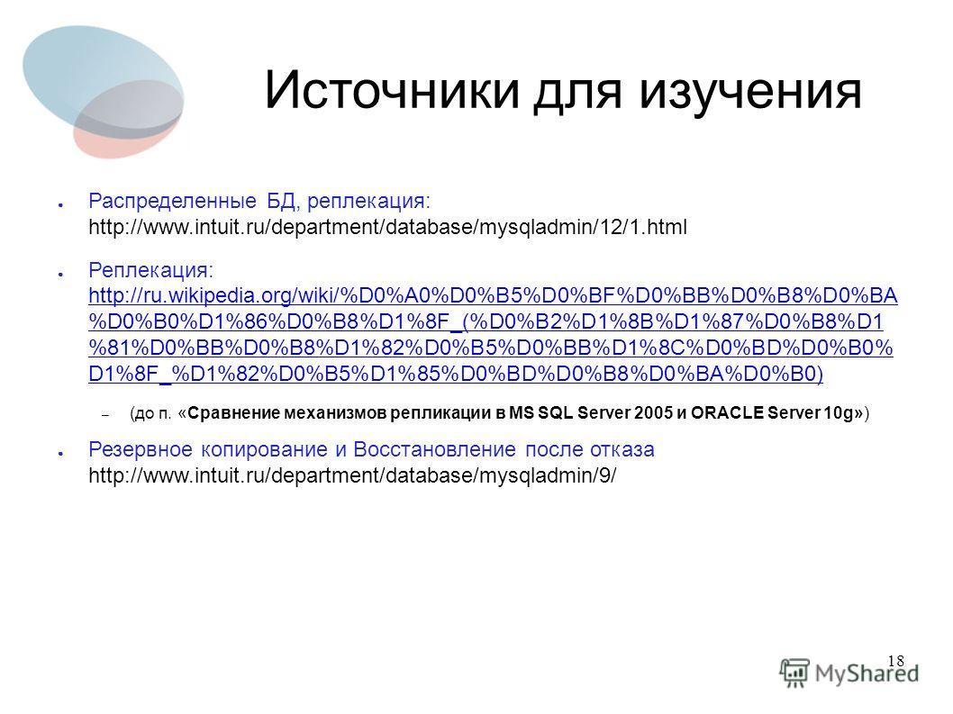 18 Источники для изучения Распределенные БД, реплекация: http://www.intuit.ru/department/database/mysqladmin/12/1.html Реплекация: http://ru.wikipedia.org/wiki/%D0%A0%D0%B5%D0%BF%D0%BB%D0%B8%D0%BA %D0%B0%D1%86%D0%B8%D1%8F_(%D0%B2%D1%8B%D1%87%D0%B8%D1