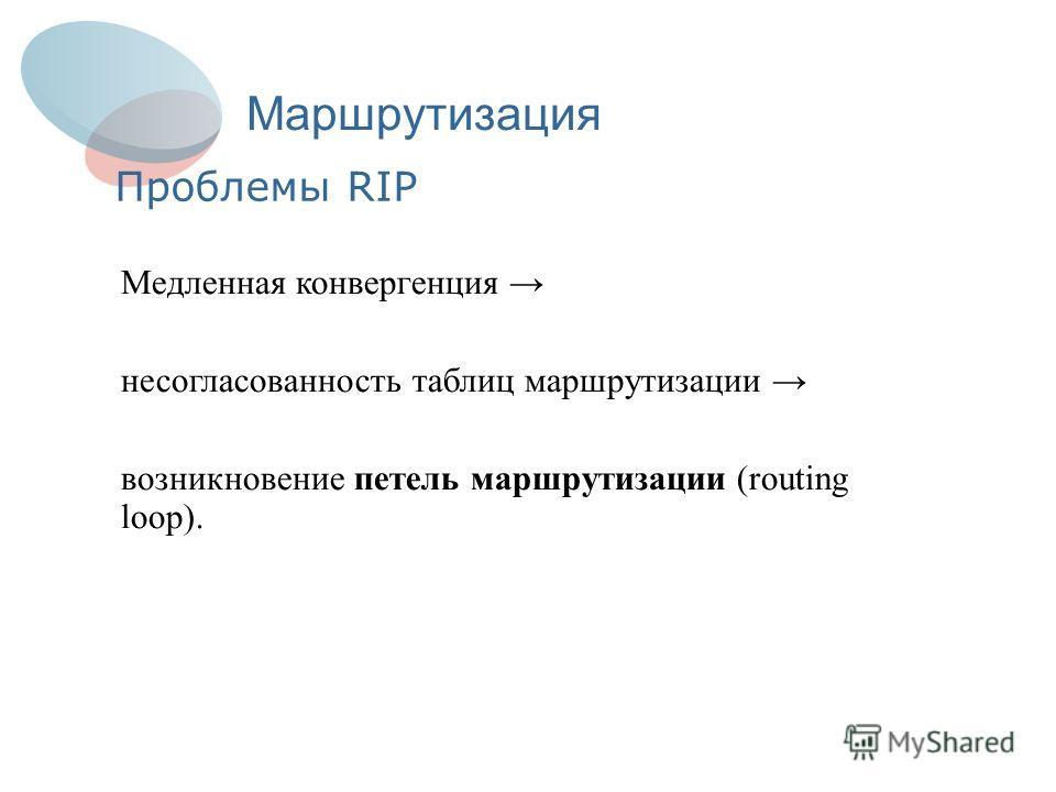 Медленная конвергенция несогласованность таблиц маршрутизации возникновение петель маршрутизации (routing loop). Маршрутизация Проблемы RIP
