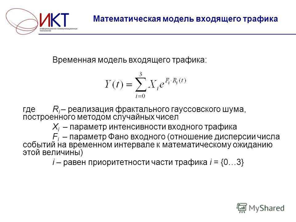 Математическая модель входящего трафика Временная модель входящего трафика: где R i – реализация фрактального гауссовского шума, построенного методом случайных чисел X i – параметр интенсивности входного трафика F i – параметр Фано входного (отношени