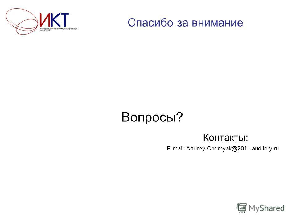 Спасибо за внимание Вопросы? Контакты: E-mail: Andrey.Chernyak@2011.auditory.ru