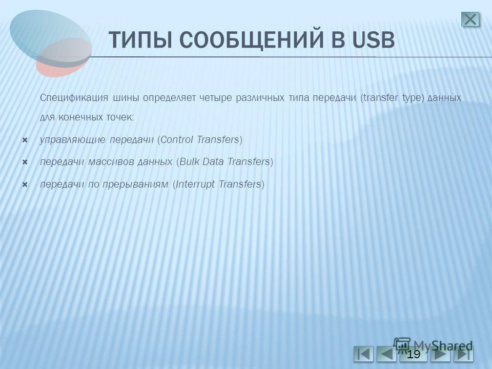 ТИПЫ СООБЩЕНИЙ В USB Спецификация шины определяет четыре различных типа передачи (transfer type) данных для конечных точек: управляющие передачи (Control Transfers) передачи массивов данных (Bulk Data Transfers) передачи по прерываниям (Interrupt Tra