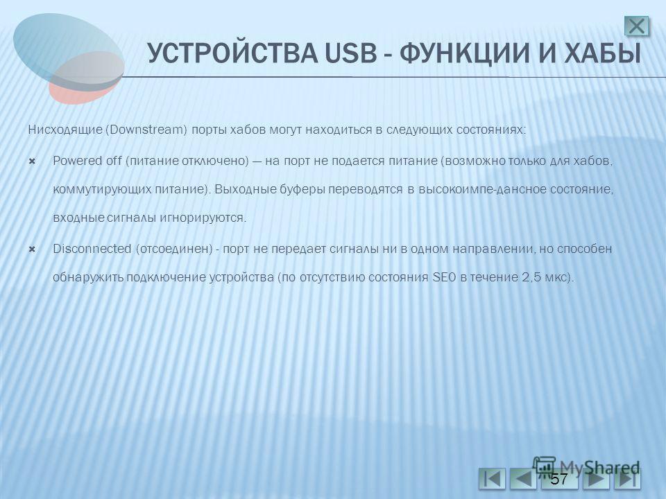 УСТРОЙСТВА USB - ФУНКЦИИ И ХАБЫ Нисходящие (Downstream) порты хабов могут находиться в следующих состояниях: Powered off (питание отключено) на порт не подается питание (возможно только для хабов, коммутирующих питание). Выходные буферы переводятся в