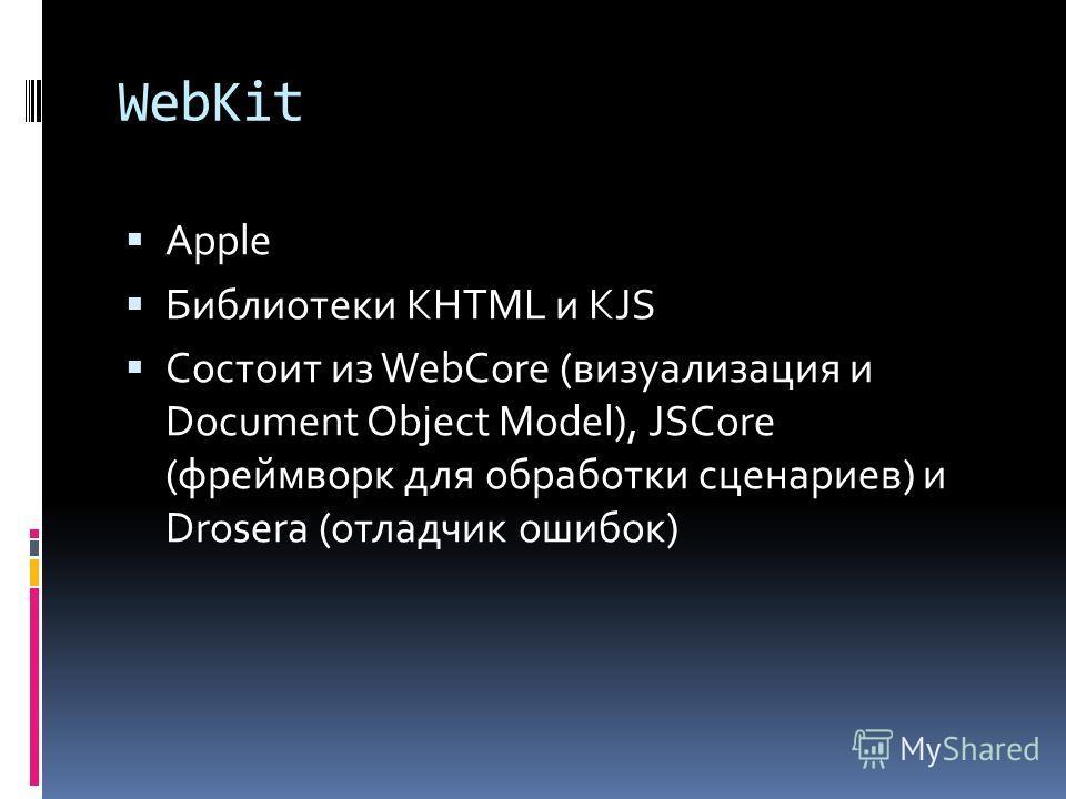 WebKit Apple Библиотеки KHTML и KJS Состоит из WebCore (визуализация и Document Object Model), JSCore (фреймворк для обработки сценариев) и Drosera (отладчик ошибок)