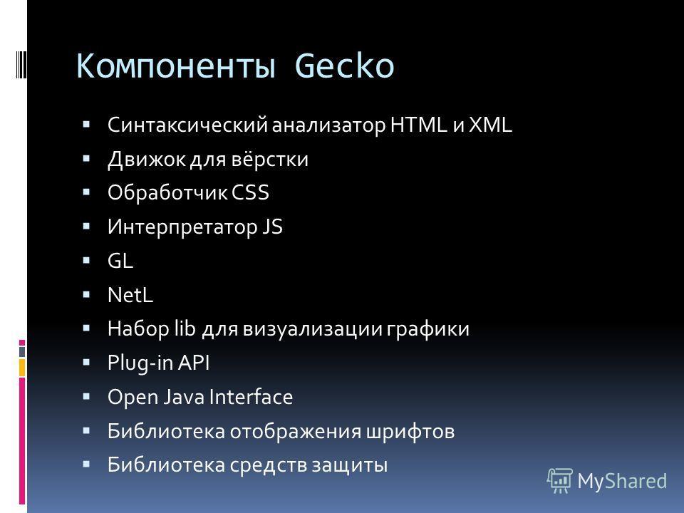 Компоненты Gecko Синтаксический анализатор HTML и XML Движок для вёрстки Обработчик CSS Интерпретатор JS GL NetL Набор lib для визуализации графики Plug-in API Open Java Interface Библиотека отображения шрифтов Библиотека средств защиты