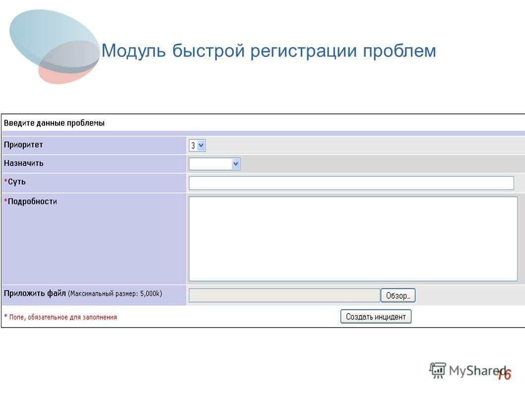 Итоги 16 Модуль быстрой регистрации проблем