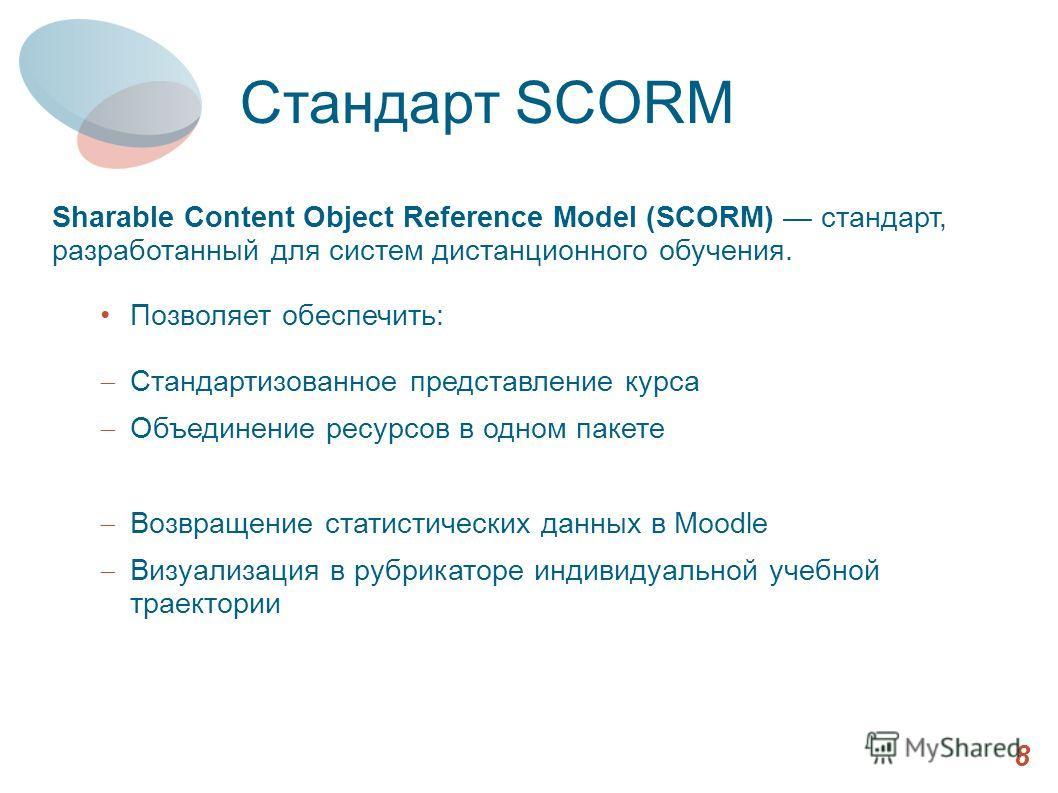 Sharable Content Object Reference Model (SCORM) стандарт, разработанный для систем дистанционного обучения. Позволяет обеспечить: Стандартизованное представление курса Объединение ресурсов в одном пакете Возвращение статистических данных в Moodle Виз