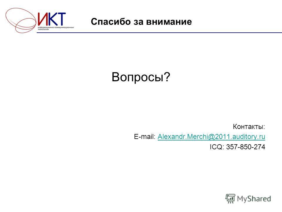 Спасибо за внимание Вопросы? Контакты: E-mail: Alexandr.Merchi@2011.auditory.ruAlexandr.Merchi@2011.auditory.ru ICQ: 357-850-274