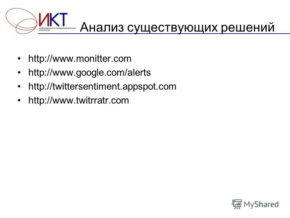 Анализ существующих решений http://www.monitter.com http://www.google.com/alerts http://twittersentiment.appspot.com http://www.twitrratr.com