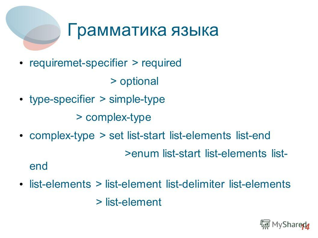 Грамматика языка requiremet-specifier > required > optional type-specifier > simple-type > complex-type complex-type > set list-start list-elements list-end >enum list-start list-elements list- end list-elements > list-element list-delimiter list-ele