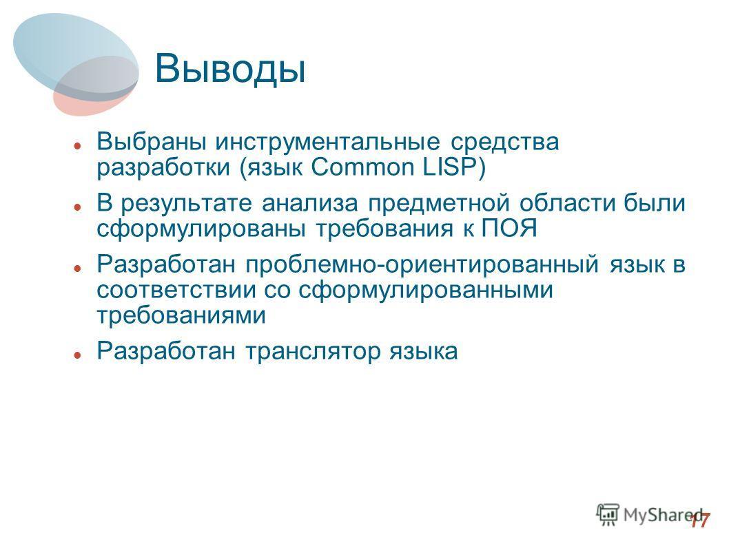 Выводы Выбраны инструментальные средства разработки (язык Common LISP) В результате анализа предметной области были сформулированы требования к ПОЯ Разработан проблемно-ориентированный язык в соответствии со сформулированными требованиями Разработан