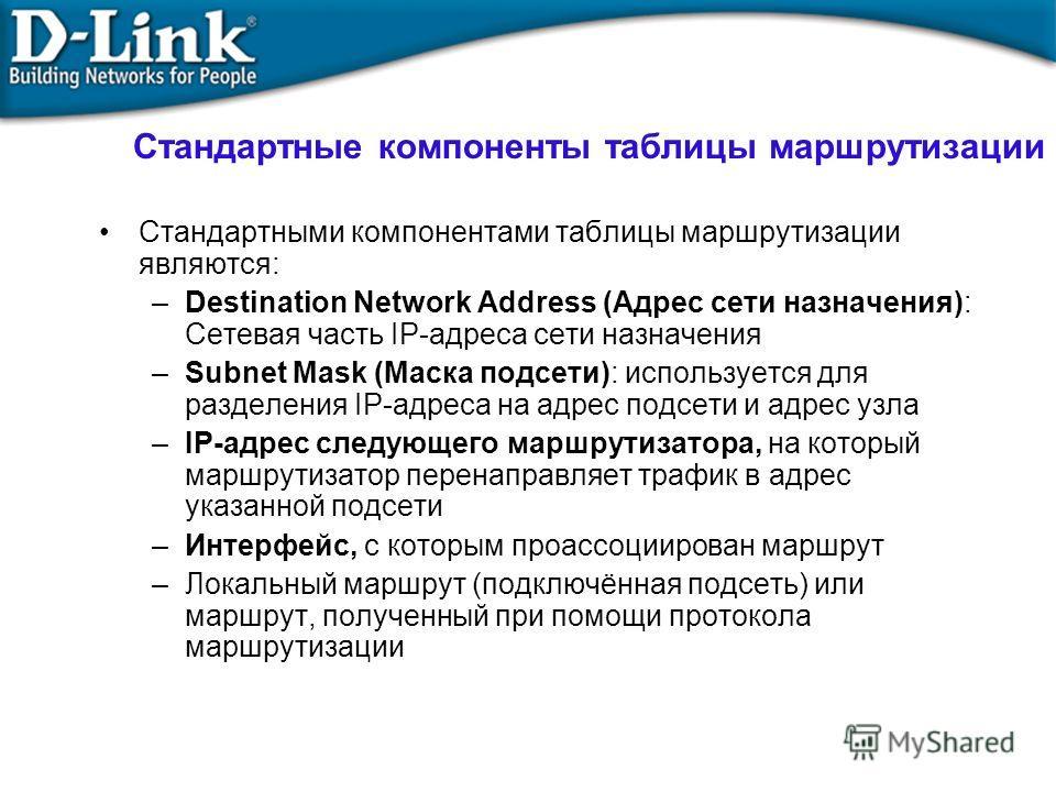Стандартные компоненты таблицы маршрутизации Стандартными компонентами таблицы маршрутизации являются: –Destination Network Address (Адрес сети назначения): Сетевая часть IP-адреса сети назначения –Subnet Mask (Маска подсети): используется для раздел