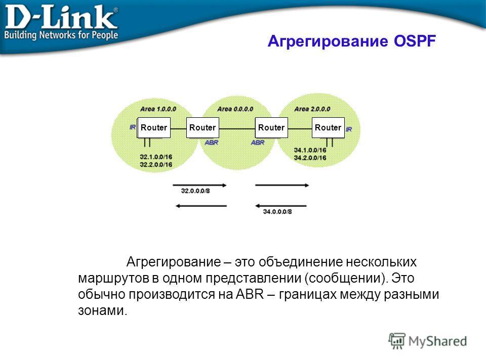 Агрегирование – это объединение нескольких маршрутов в одном представлении (сообщении). Это обычно производится на ABR – границах между разными зонами. Агрегирование OSPF Router