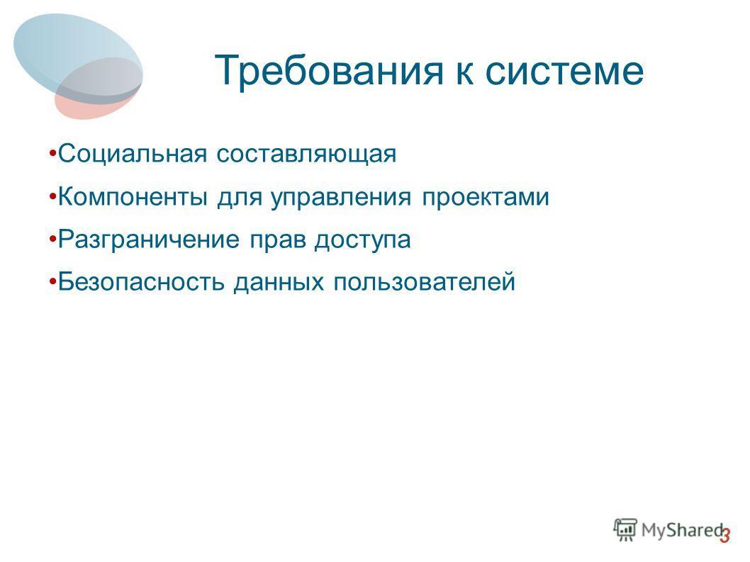 Требования к системе Социальная составляющая Компоненты для управления проектами Разграничение прав доступа Безопасность данных пользователей 3