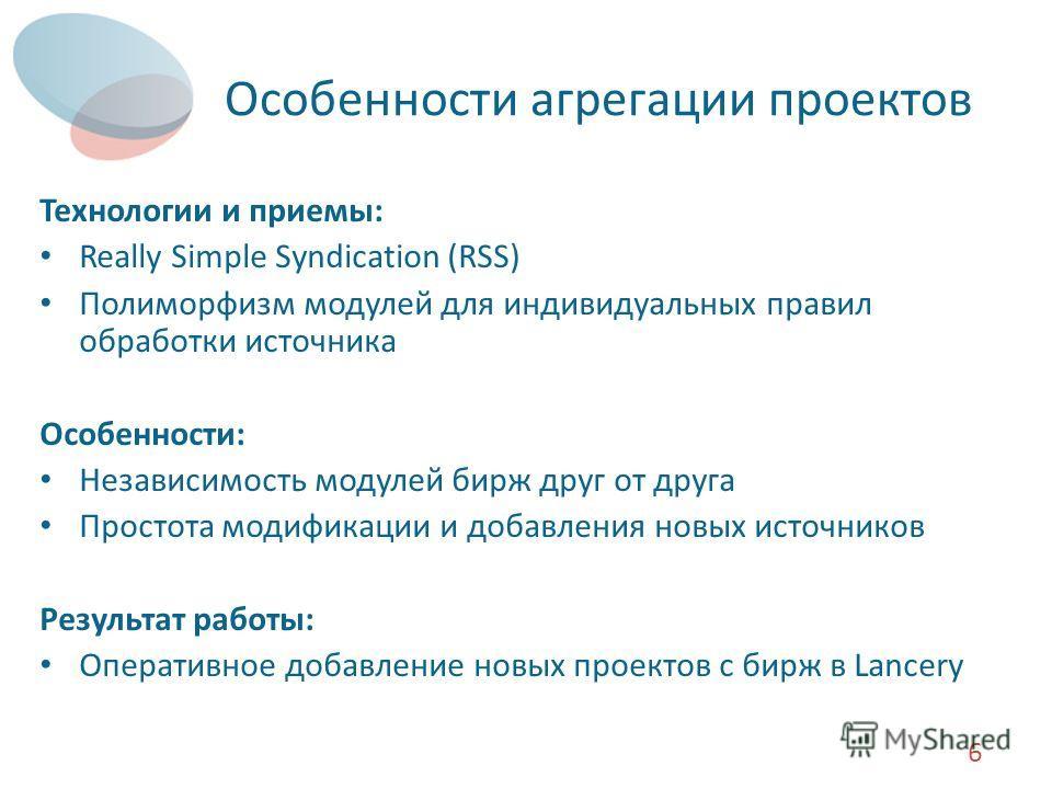 Особенности агрегации проектов Технологии и приемы: Really Simple Syndication (RSS) Полиморфизм модулей для индивидуальных правил обработки источника Особенности: Независимость модулей бирж друг от друга Простота модификации и добавления новых источн