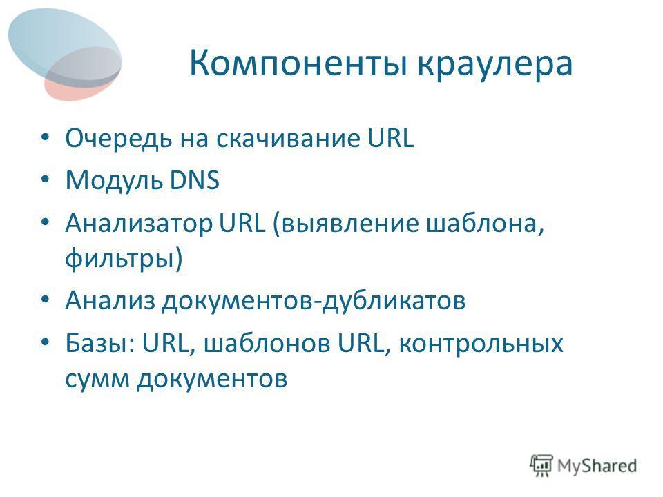 Компоненты краулера Очередь на скачивание URL Модуль DNS Анализатор URL (выявление шаблона, фильтры) Анализ документов-дубликатов Базы: URL, шаблонов URL, контрольных сумм документов