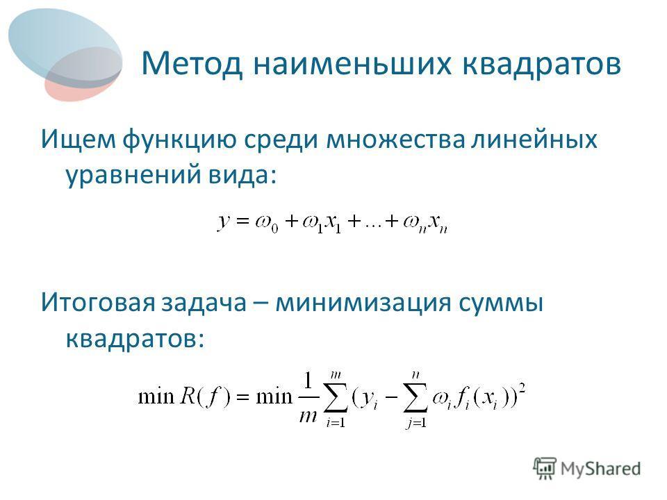 Метод наименьших квадратов Ищем функцию среди множества линейных уравнений вида: Итоговая задача – минимизация суммы квадратов: